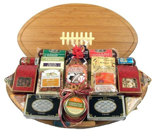 Gift Basket Village Halftime Favorites Football Gift Basket with Deluxe Cutting Board, Large