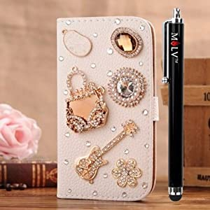 M LV Nokia Lumia 520 Leather Diamond Bling crystal Folio Support Smart Case Cover With Card Holder & Magnetic Flip Horizontals - Handbag Guitar Flower by M LV