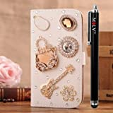 M LV HTC One X OneX Leather Diamond Bling crystal Folio Support Smart Case Cover With Card Holder & Magnetic Flip Horizontals - Handbag Guitar Flower