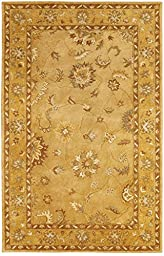 Area Rug, Gold Traditional Bordered Soft Wool Carpet, 2-Foot X 4-Foot