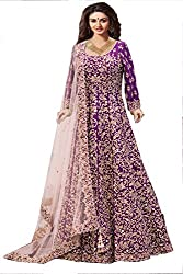 Sensational Purple Colored Silk material Suit
