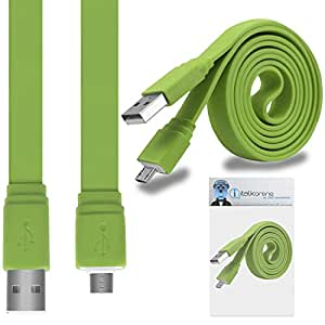 iTALKonline Google Nexus One Green FLAT THIN USB 2.0 Micro USB MicroUSB SYNC & CHARGE Connect Charging Charger Tangle Proof Cable (1.1 Meter)