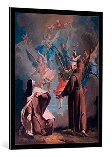 """Quadro con cornice: Francesco Fontebasso """"Saint Teresa of Avila and Saint Peter of Alcántara"""" - stampa artistica decorativa, cornice di alta qualità, 75x95 cm, nero / angolo grigio"""