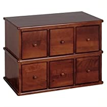 Leslie Dame Wood CD, DVD Storage Cabinet 6 Drawer Apothecary Style CD-150W Walnut
