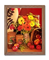 Apples Basket Flowers Kitchen Home Decor Wall Picture Oak Framed Art Print