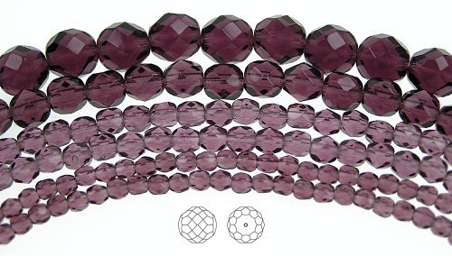 8mm (51) Amethyst, Czech Fire Polished Round Faceted Glass Beads, 16 inch strand