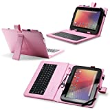 "Fosmon Leather Case with Stand, USB Keyboard and Stylus for 10"" Tablets (10.1"" ePad / aPad, Google Nexus 10, Acer Iconia Tab A200, and More) - Light Pink"