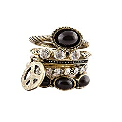 Habors Black Metal Ring For Women
