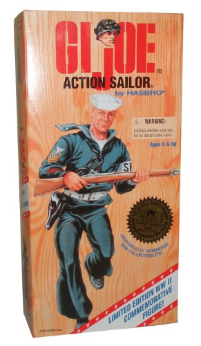 Buy Low Price Hasbro G.I. Joe 1996 Limited Edition World War II 50th Anniversary Commemorative Series with Individually Numbered 12 Inch Tall Soldier Action Figure – Action Sailor with Sailor Uniform, Belt with Holster and Pistol, Duffel Bag, Sailor Cap, Dog Tag, and Rifle (Caucasian Version) (B003KAKH1O)