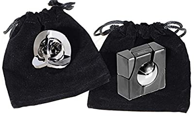 MARBLE & EQUA Hanayama Cast Metal Brain Teaser Puzzle Pack _ Bonus 2 Black Velveteen Drawstring Pouches _ Bundle