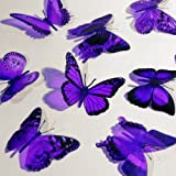 Butterfly 3D Translucent Decoration 15 PURPLE Butterflies