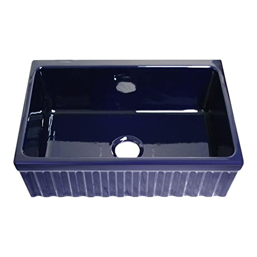 Whitehaus WHQ330-SBLU  1 Apron Front Fireclay 30x20x10 Single Bowl Kitchen Sink, Sapphire Blue