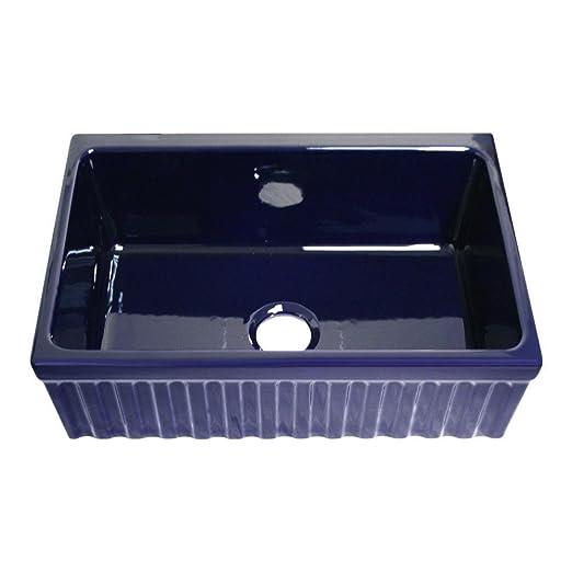 Whitehaus WHQ330-SBLU  1 Apron Front Fireclay 30x20x10 Single Bowl Kitchen Sink, Sapphire Blue