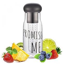 EZ Life Green Tea & Infuser Bottle - Portable Travel Air Tight Bottle with Bottom Infuser cum filter -500ml - Black - Tritan