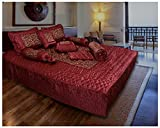 Ooltah Chashma Gold Printed Satin Double Bed Bedding Wedding Set (Set of 8) and 1 Double Bed Ac Comforter - Red, OCWCS-004
