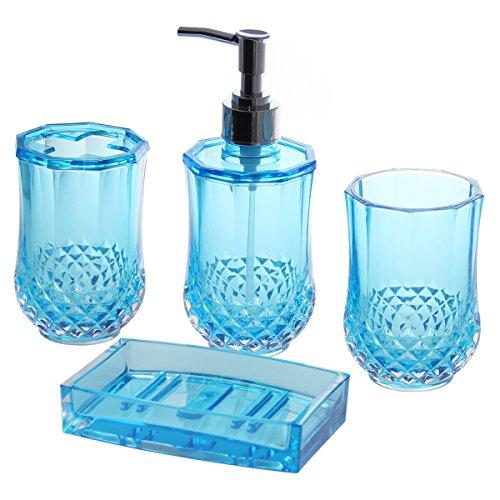 Justnile acrylic 4 piece bathroom accessory set for Blue bath accessories set