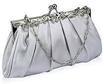 Elegant Silver Soft Touch Bridal Prom Party Vintage Evening Clutch Bag (22cm x 14cm) with PreciousBags Dust Bag