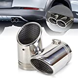 2X Chrome Stainless Steel Exhaust Tail Rear Muffler Tip Pipe for Audi Q5 2.0T 2008 2009 2010 2011 2012 A4 B8 Sedan VW Tiguan 2009 2010 2011 2012