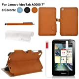Foxnovo 4-in-1 PU Flip Case Stylus Pen Screen Guard Cloth Set for Lenovo IdeaTab A3000 7-inch Tablet PC (Brown)