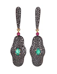 Amethyst By Rahul Popli Black Silver Stud Earrings