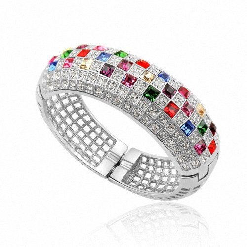 TAOTAOHAS- [ Search Name: Luxury Queen ] (1PC) Crystallized Swarovski Elements Austria Crystal Bangle Bracelet, Made of Alloy Plated with 18K True Platinum / White Gold and Czech Rhinestone
