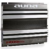 Auna AB-450 Bridgeable Car Amplifier (2-Channel, 1200W Max & Auto Racing Design) - Silver / Grey