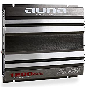 Auna W1-AB-250 2-Kanal Auto Verstärker brückbar 1200W grau/silber