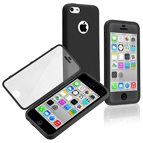 Generic iSee Case Black Gel Slim TPU Protective Cover Case Built in Screen Protector for Apple iPhone 5C