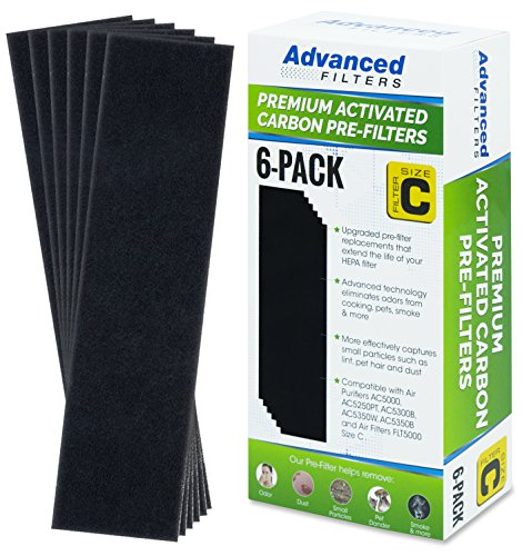 Premium Carbon Activated Pre Filter 6 Pack for Germ Guardian Air Purifier Models AC5000 Series, Replacement Pre-Filter C by Advanced Filters