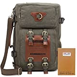 Kaukko Outdoor Large Travel Mens Backpack Fit up 13-14''laptop Restro Canvas Bags Army Green
