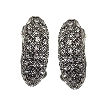 BARINA Silver Plated Crystal Clip On Earrings