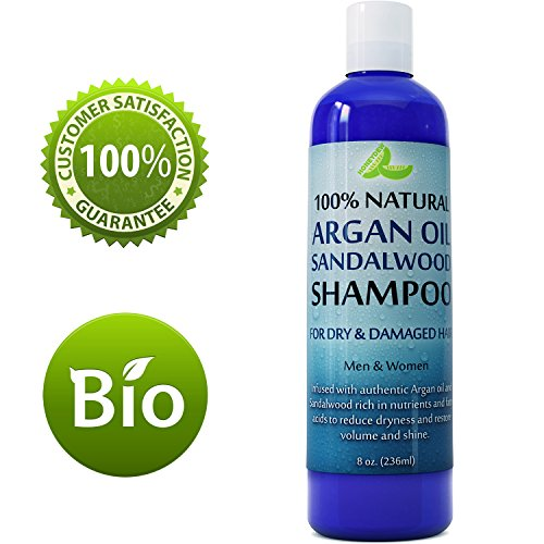 Argan Sandalwood Shampoo for Dry Hair and Scalp - Damaged Hair Repair Treatment for Men and Women with Sandalwood Essential Oil - Sulfate Free (8oz)