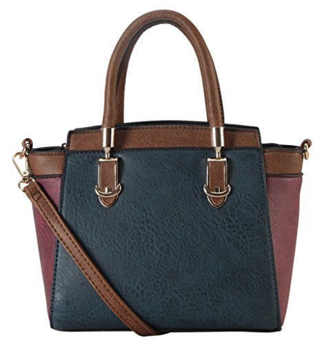 Diophy-PU-Leather-Two-Tone-Mini-Top-Handle-Tote-Womens-Purse-Handbag-Accented-with-Removable-Strap-SE-3397