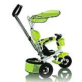 Poussette de luxe vélo tricycle vélo enfant pour 1-6 ans de toit pushrod bébé et grand jouet panier de type A (vert)...