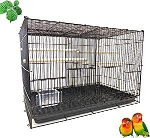 Mcage Lot of Breeding Bird Flight Cages for Canary Parakeet Aviaries Budgies Lovebird Finch (24 Black Divider) (Color: 24 Black Divider, Tamaño: 24 x 16 x 16H)