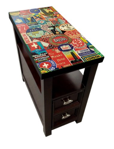 New Hotel Label Themed Cappuccino / Espresso Night Stand End Table With Pull Out Drawer And Glass Top Surface front-1060569