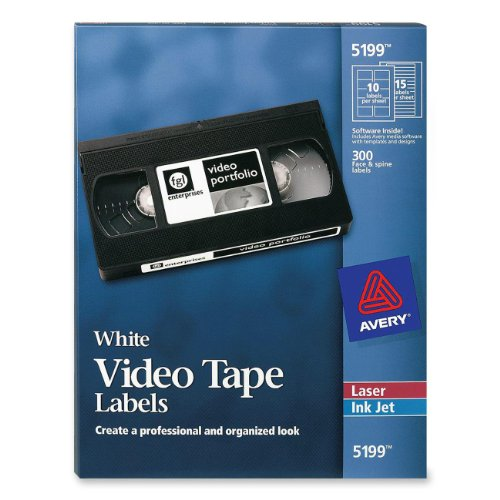 Avery laser video tape cassette labels face and spine 5199