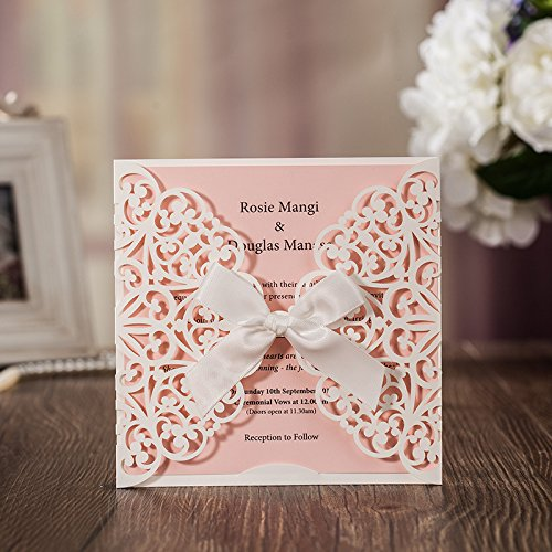 JOFANZA 50x White Square Laser Cut Wedding Invitations Cards with Bow Lace Sleeve Invitations for Engagement Baby Shower Birthday Quinceanera (set of 50pcs) CW6177 0