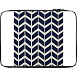 Snoogg Navy White Line Waves 2502 12 To 12.6 Inch Laptop Netbook Notebook Slipcase Sleeve