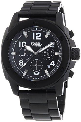 Fossil Modern Machine - Reloj de cuarzo para hombre, correa de acero inoxidable color negro