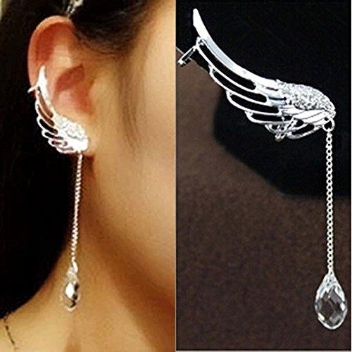 YSTD® 1Pair Angel Wing Silver Crystal Chain Drop Dangle Ear Cuff Stud Clip Earrings (Ear stud)
