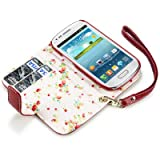 Samsung i8190 Galaxy S3 Mini Premium Faux Leather Wallet Case (Red)