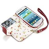 Flip Leder Handytasche Case Etui H�lle f�r Samsung Galaxy S3 Mini i8190 Rot Floral Print innen