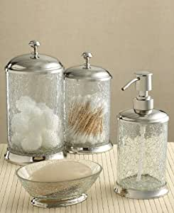 Paradigm bath accessories crackle glass for Crackle glass bathroom accessories