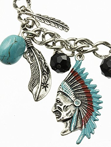 Turquoise Chunky Charm Native American Theme Necklace And Earring Set Fashion Jewelry And Accessory Beautiful Charms