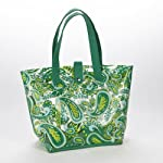 The 'Everything' Clear Lunch Tote (Green/Teal Paisley)