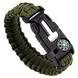 Set mit zwei Survival-Armbändern, Paracord, mit Pfeife, Feuerstein, Schaber zum Feuer machen, für Aktivitäten im Freien (schwarz & Armee-Grün)