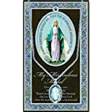 Pewter Mary Miraculous Medal on 18 inch Chain with Info Pamphlet and Prayer
