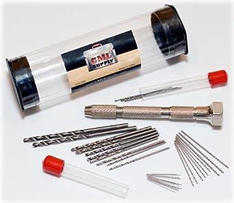 Mini Micro Drill Bit Set and Pin Vise Chuck 31 pcs