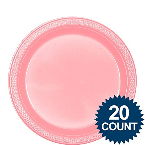 New Pink Plastic Party Plates 20 Ct 9 inch